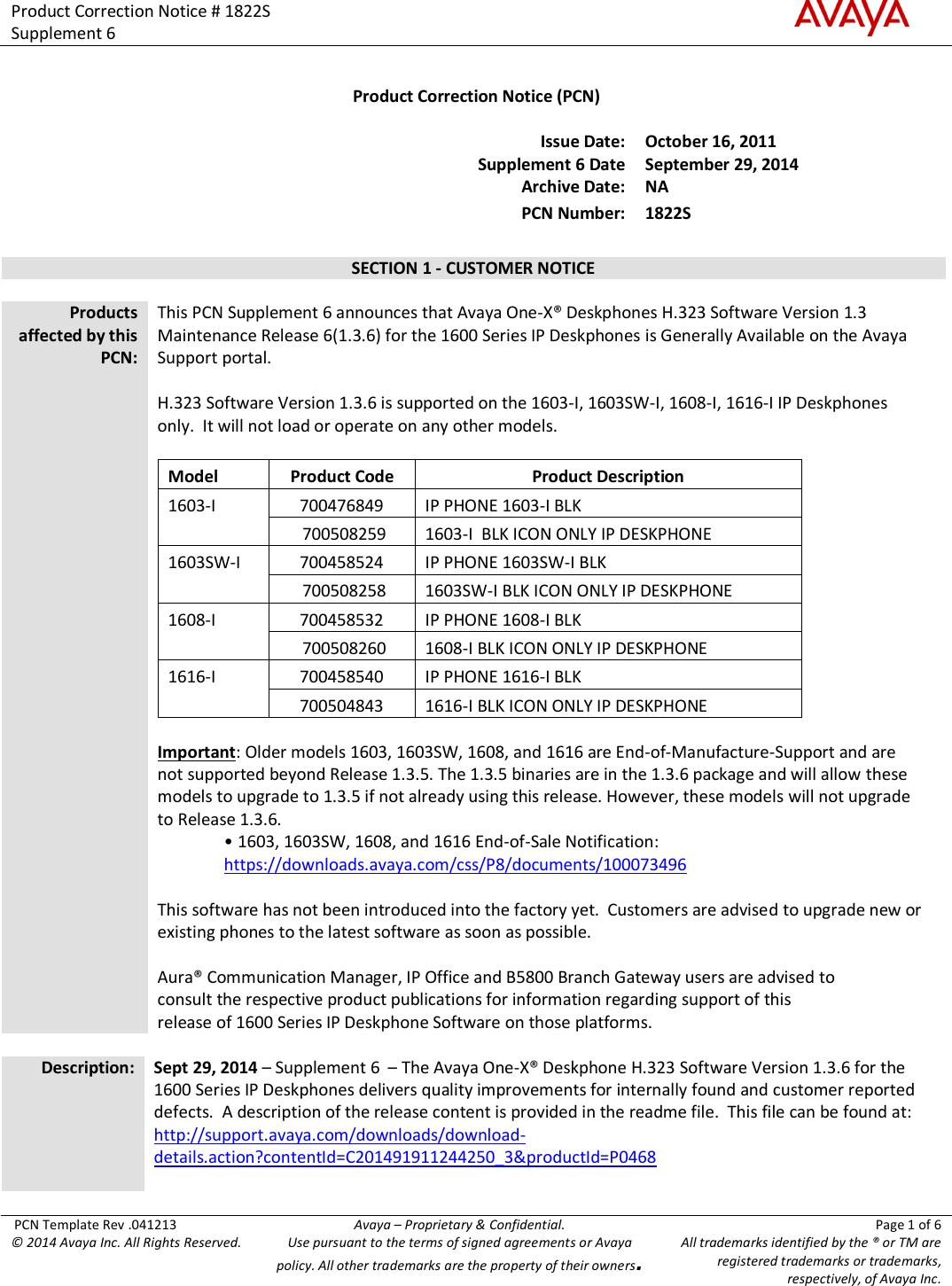 Avaya Pcn1822Su Users Manual Product Correction Notice