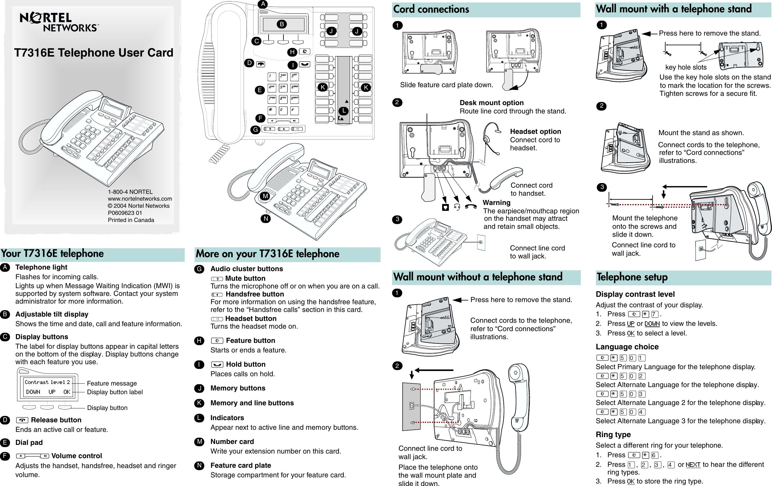 Avaya T7316E Telephone Users Manual User Card