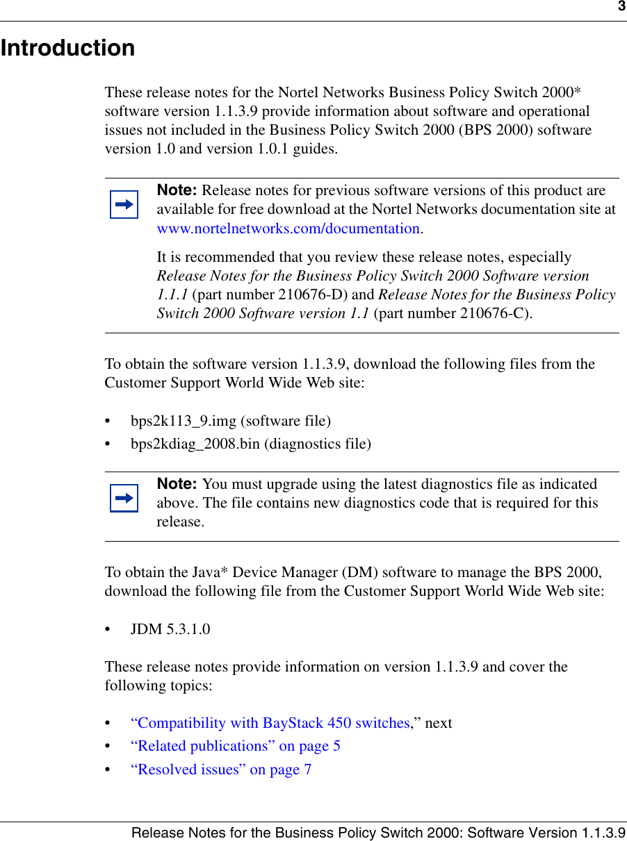 Page 3 of 10 - Avaya Avaya-The-Business-Policy-Switch-2000-Software-Version-1-1-3-9-Release-Notes- Release Notes For The Business Policy Switch 2000 Software Version 1.1.3.9  Avaya-the-business-policy-switch-2000-software-version-1-1-3-9-release-notes
