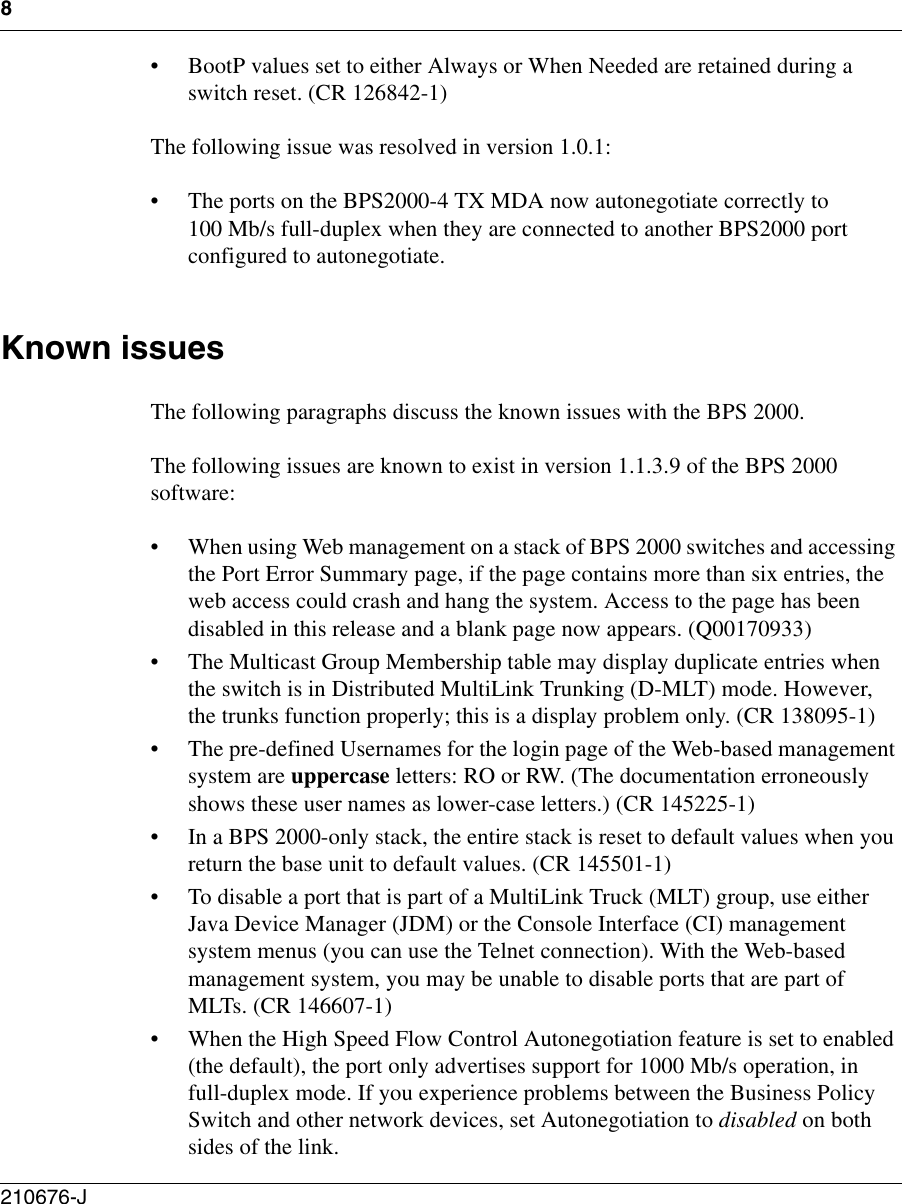 Page 8 of 10 - Avaya Avaya-The-Business-Policy-Switch-2000-Software-Version-1-1-3-9-Release-Notes- Release Notes For The Business Policy Switch 2000 Software Version 1.1.3.9  Avaya-the-business-policy-switch-2000-software-version-1-1-3-9-release-notes