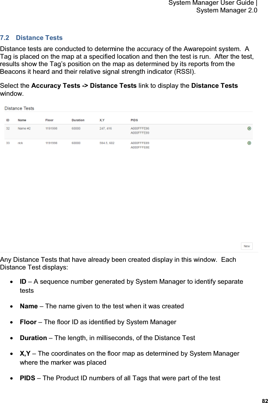 82 System Manager User Guide    System Manager 2.0 7.2  Distance Tests Distance tests are conducted to determine the accuracy of the Awarepoint system.  A Tag is placed on the map at a specified location and then the test is run.  After the test, results show the Tag's position on the map as determined by its reports from the Beacons it heard and their relative signal strength indicator (RSSI). Select the Accuracy Tests -> Distance Tests link to display the Distance Tests window.  Any Distance Tests that have already been created display in this window.  Each Distance Test displays: • ID – A sequence number generated by System Manager to identify separate tests • Name – The name given to the test when it was created • Floor – The floor ID as identified by System Manager • Duration – The length, in milliseconds, of the Distance Test • X,Y – The coordinates on the floor map as determined by System Manager where the marker was placed • PIDS – The Product ID numbers of all Tags that were part of the test
