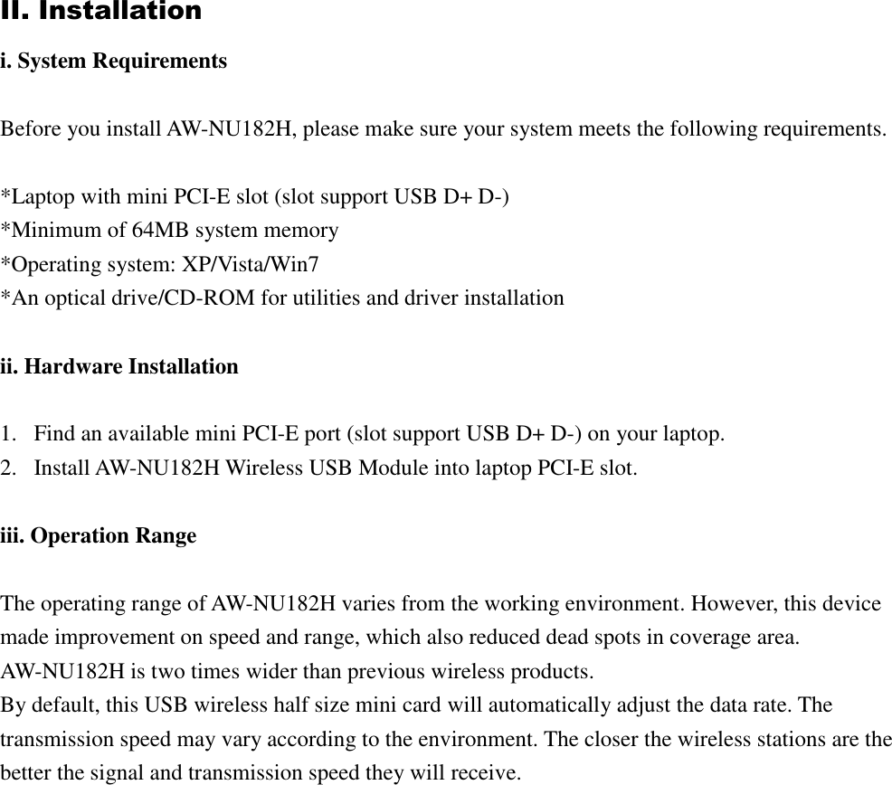 AzureWave Technologies NU182H IEEE 802 11b/g/n 2x2 USB Half