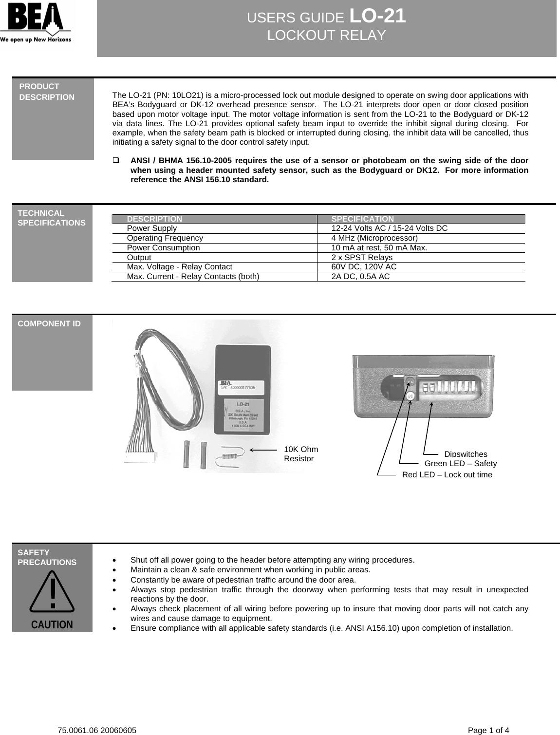 Bea User Guide Lo21 75006106 Lo 21 20060605 Relay Contact Voltage