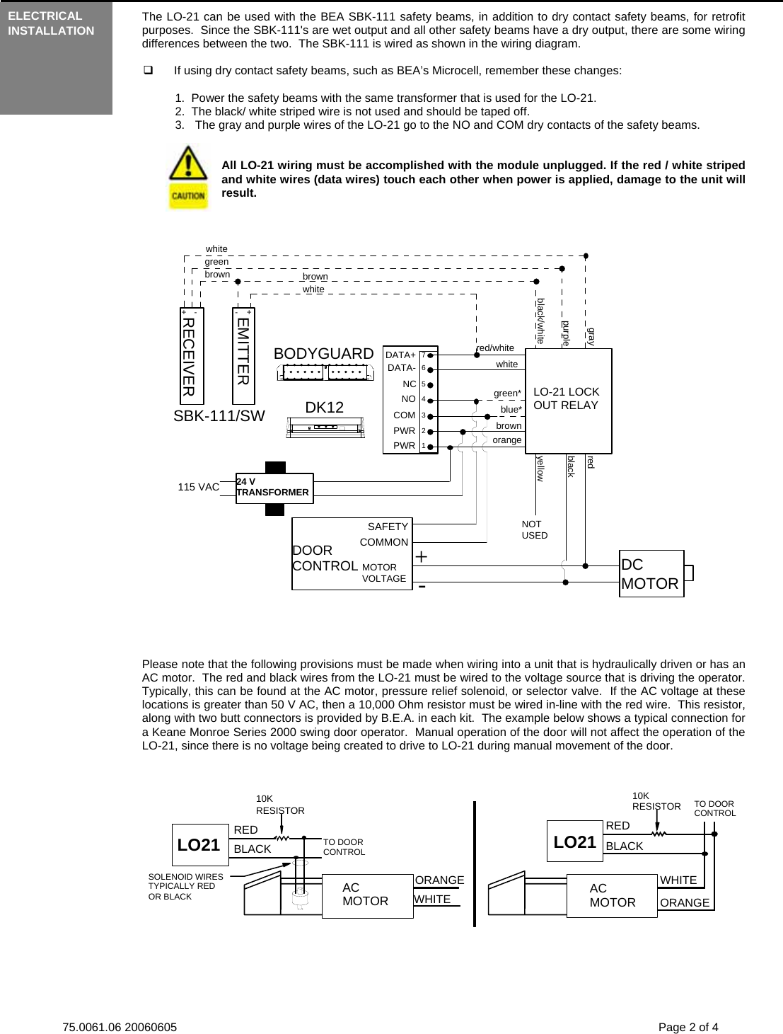 Bea User Guide Lo21 75006106 Lo 21 20060605 Wiring Diagrams Page 2 Of 4