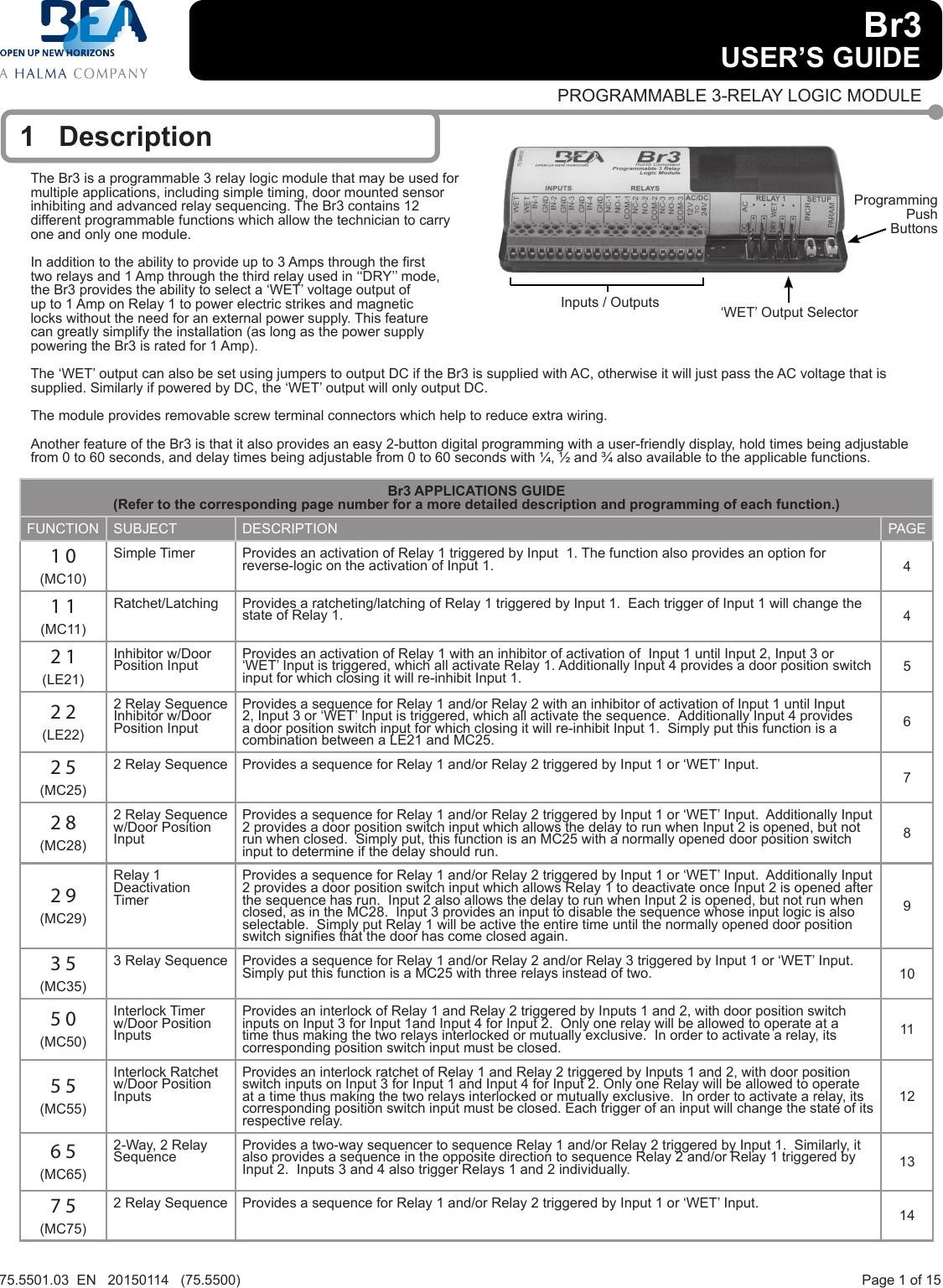 Bea 75550103en Br3 20150114 User Guide Logic Module Maglock Wiring Diagram
