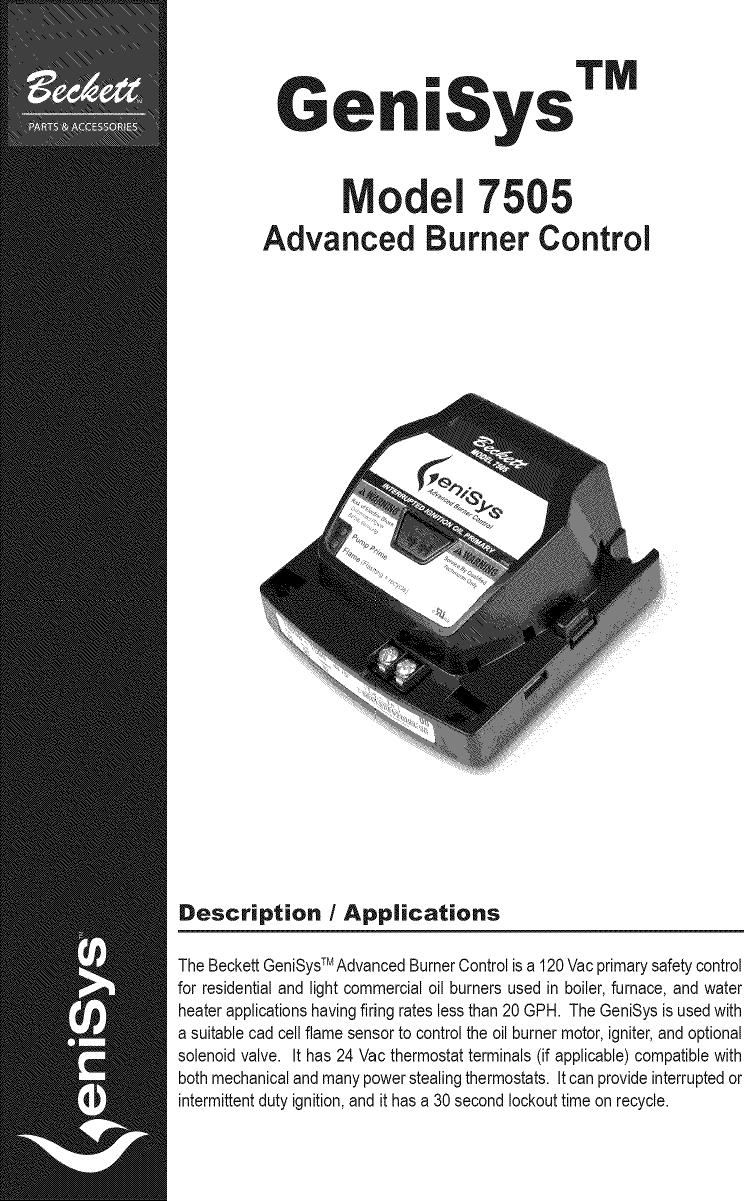 Beckett Burner  Furnace Manual L0805069