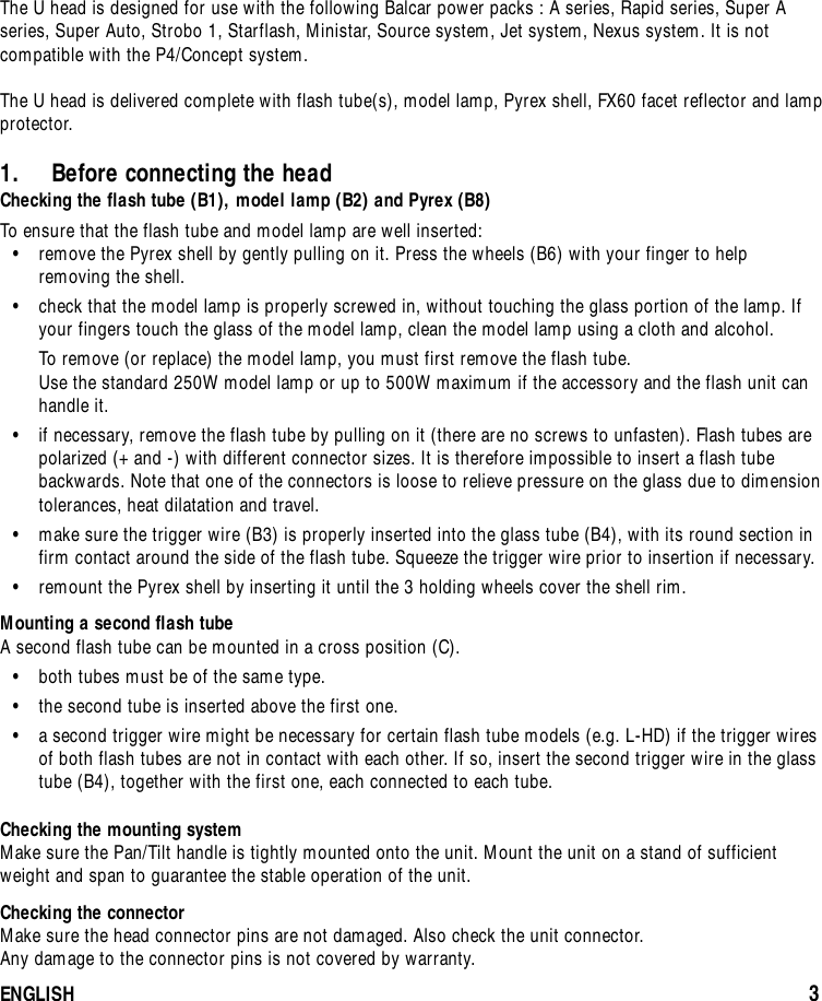 Balance Balcar U Bi Cable 10505 Users Manual