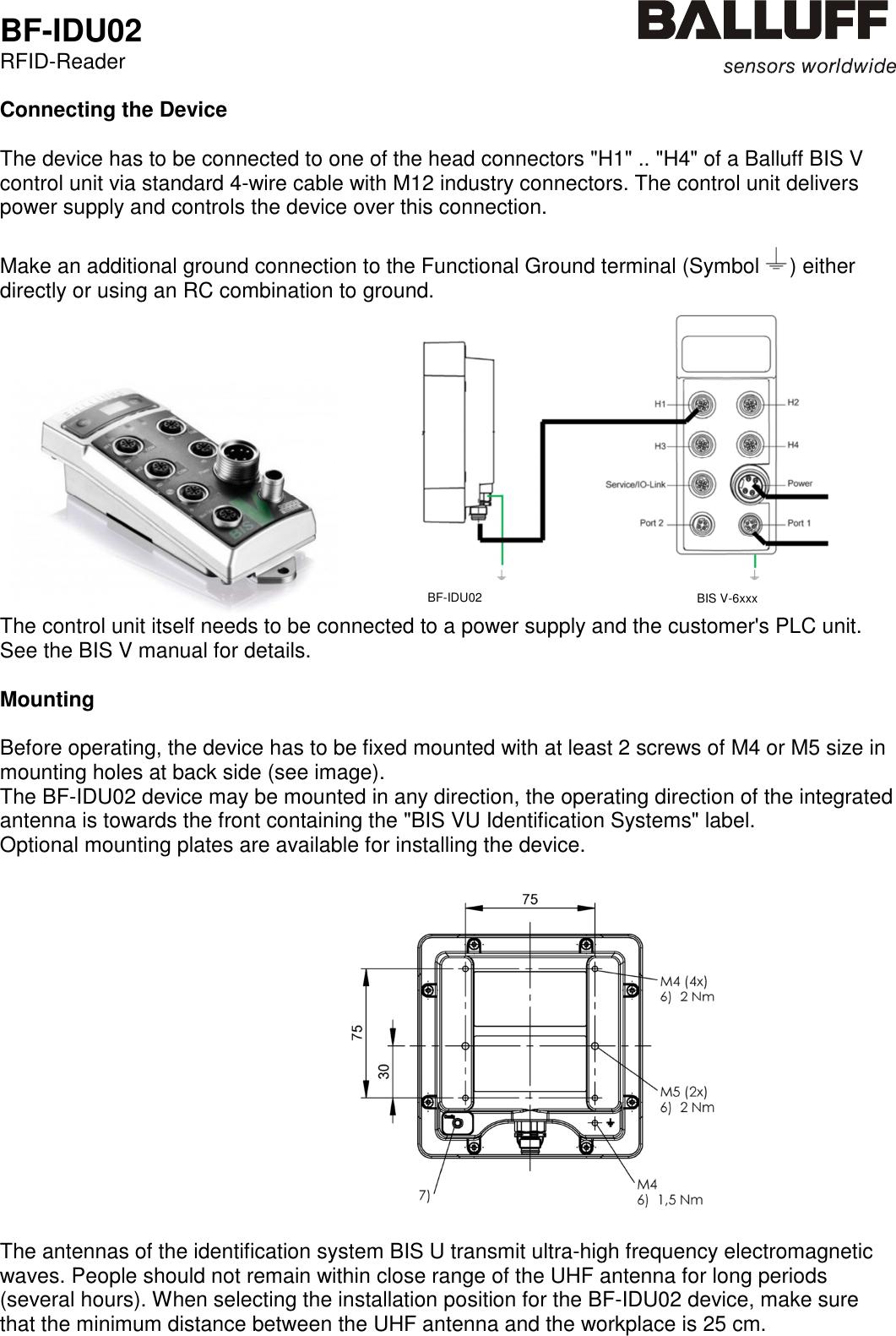 Balluff Wiring Diagram Detailed Schematics Atlas Honda Cd 70 Bfidu02 Rfid Reader User Manual Bf Idu02 V 04 Durant