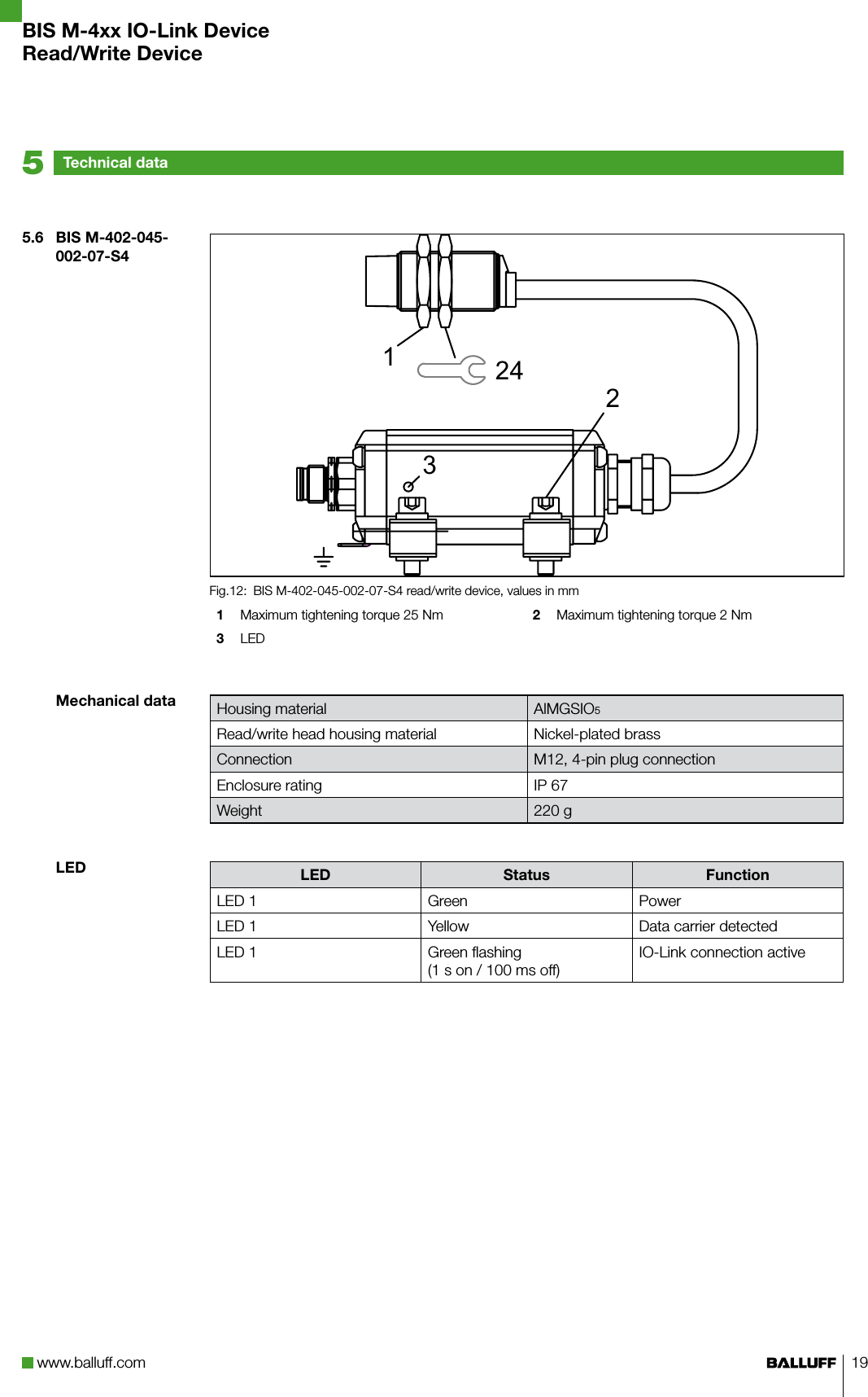 Balluff BISM4XX07 RFID Read-only, non-contact User Manual 1 of 2 on