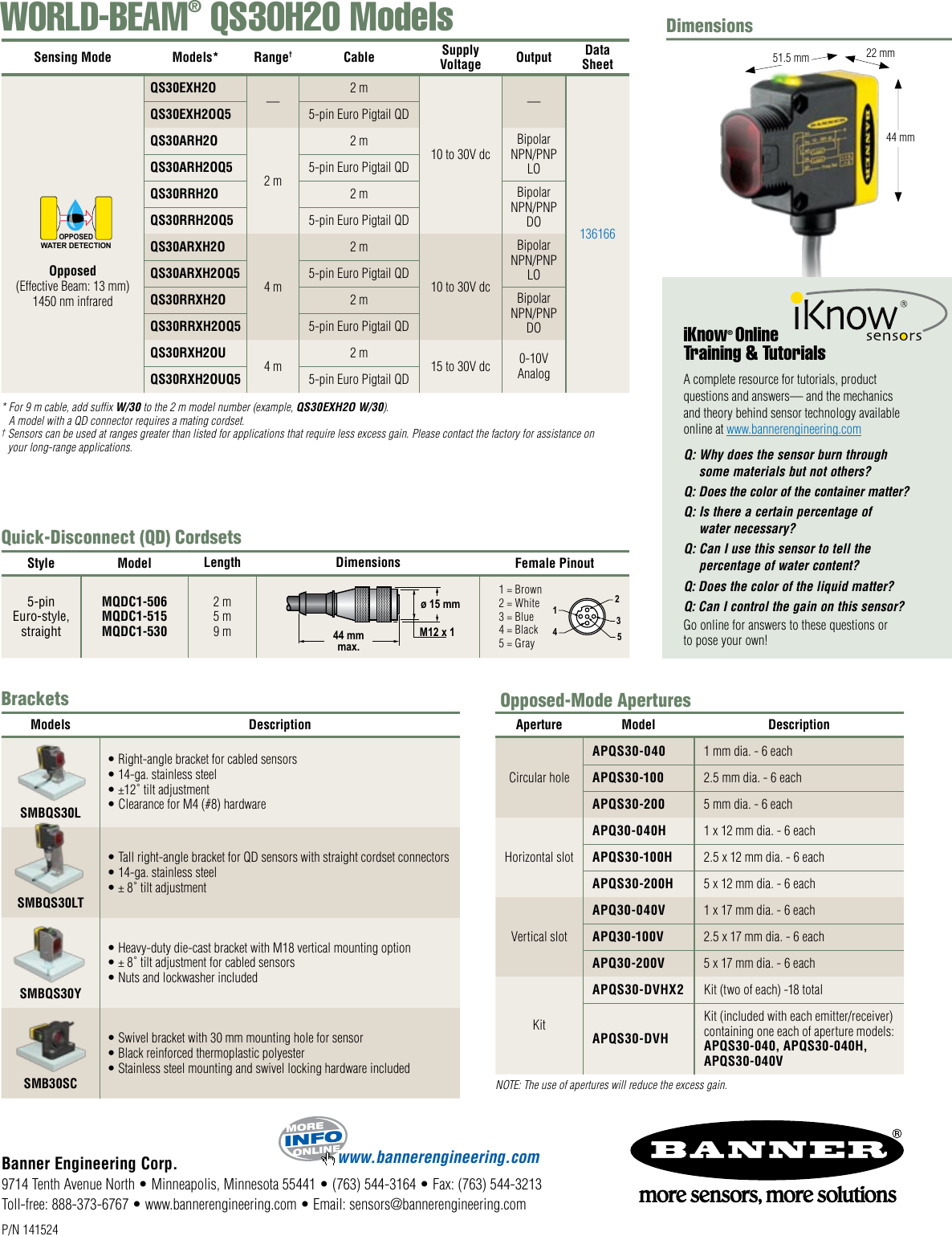 Banner Qs30H20 Users Manual WORLD BEAM QS30H2O Opposed Mode
