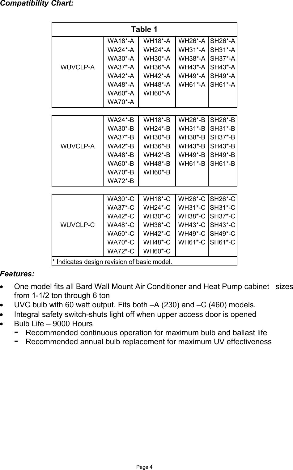 Bard WUVCLP C 46441700 UV B Inst Sheet Rev A 10 03 User