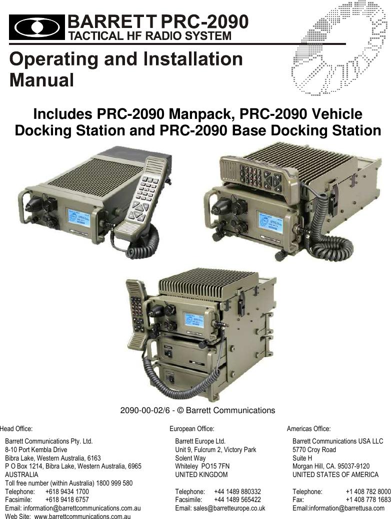 Barrett Communication PRC2090HF HF Tactical manpack User Manual PRC