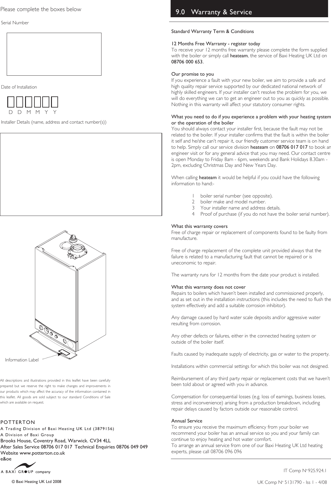 Baxi potterton boiler users manual 5119467 operating page 12 of 12 baxi potterton baxi potterton boiler users asfbconference2016 Images