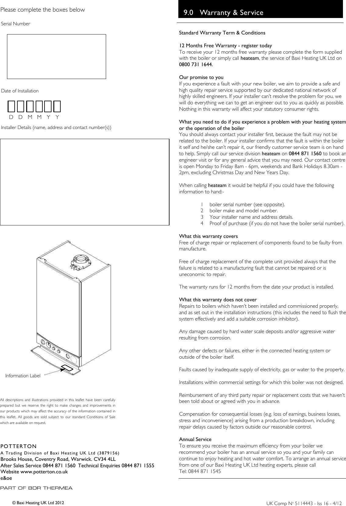Baxi potterton promax combi 24 he plus a users manual 5114443 user page 12 of 12 baxi potterton baxi potterton promax combi cheapraybanclubmaster Choice Image