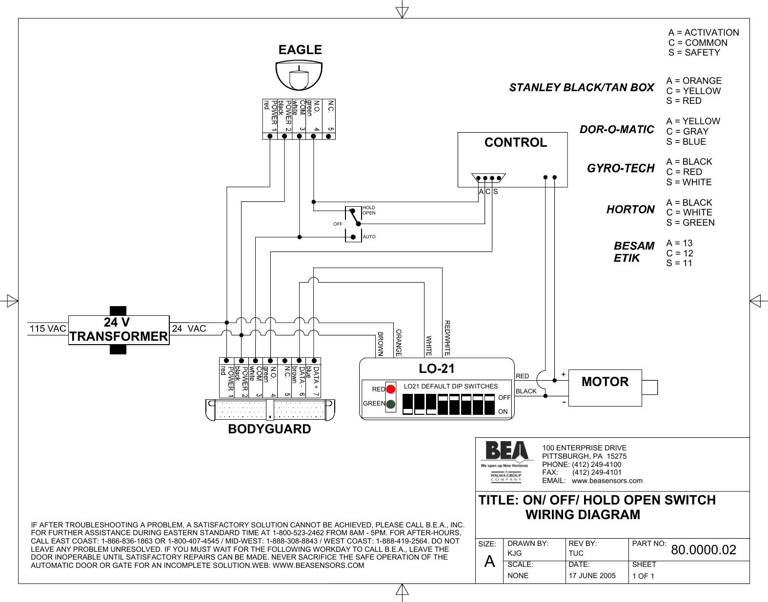 Bea Bodyguard 80 0000 02 Users Manual 80.0000.02_081805.TCW | Bea Maglock Wiring Diagram |  | UserManual.wiki