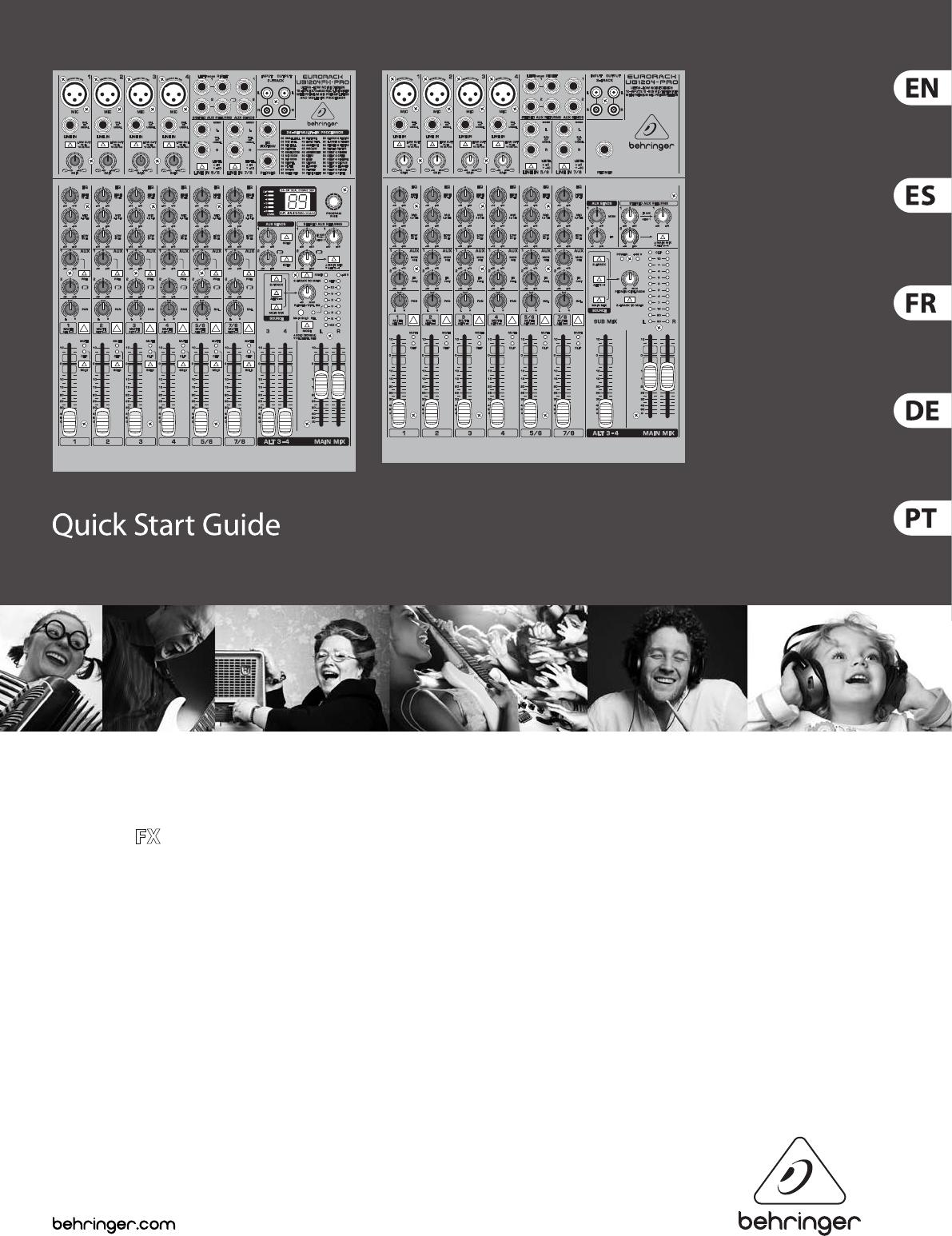 Behringer Europack Ub1204 Pro Quick Start Manual Eurorack Ub1204fx