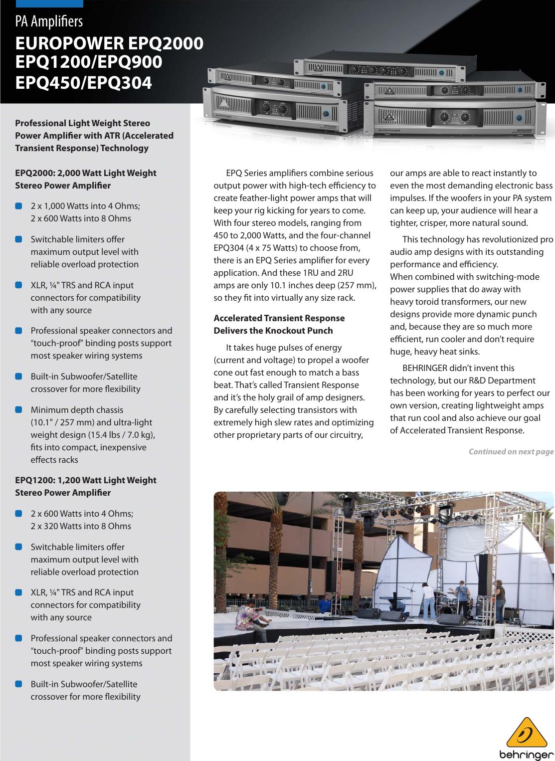 Behringer Europower Epq1200 Brochure Loudspeaker Protection And Muting Epq2000 Epq900 Epq450 Epq304