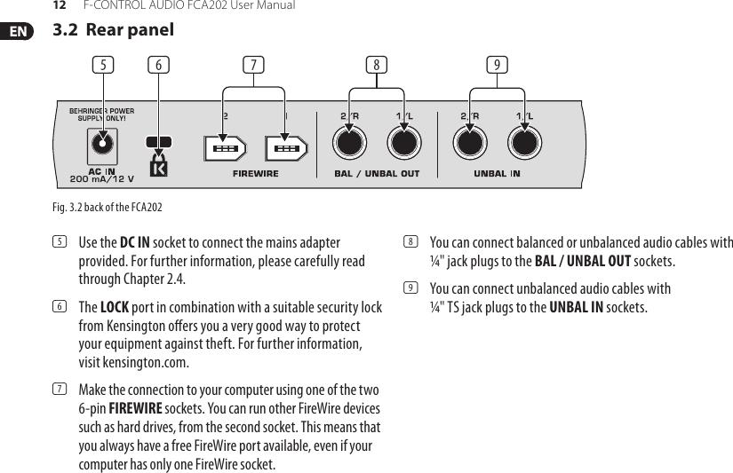 Behringer F Control Audio Fca202 Users Manual