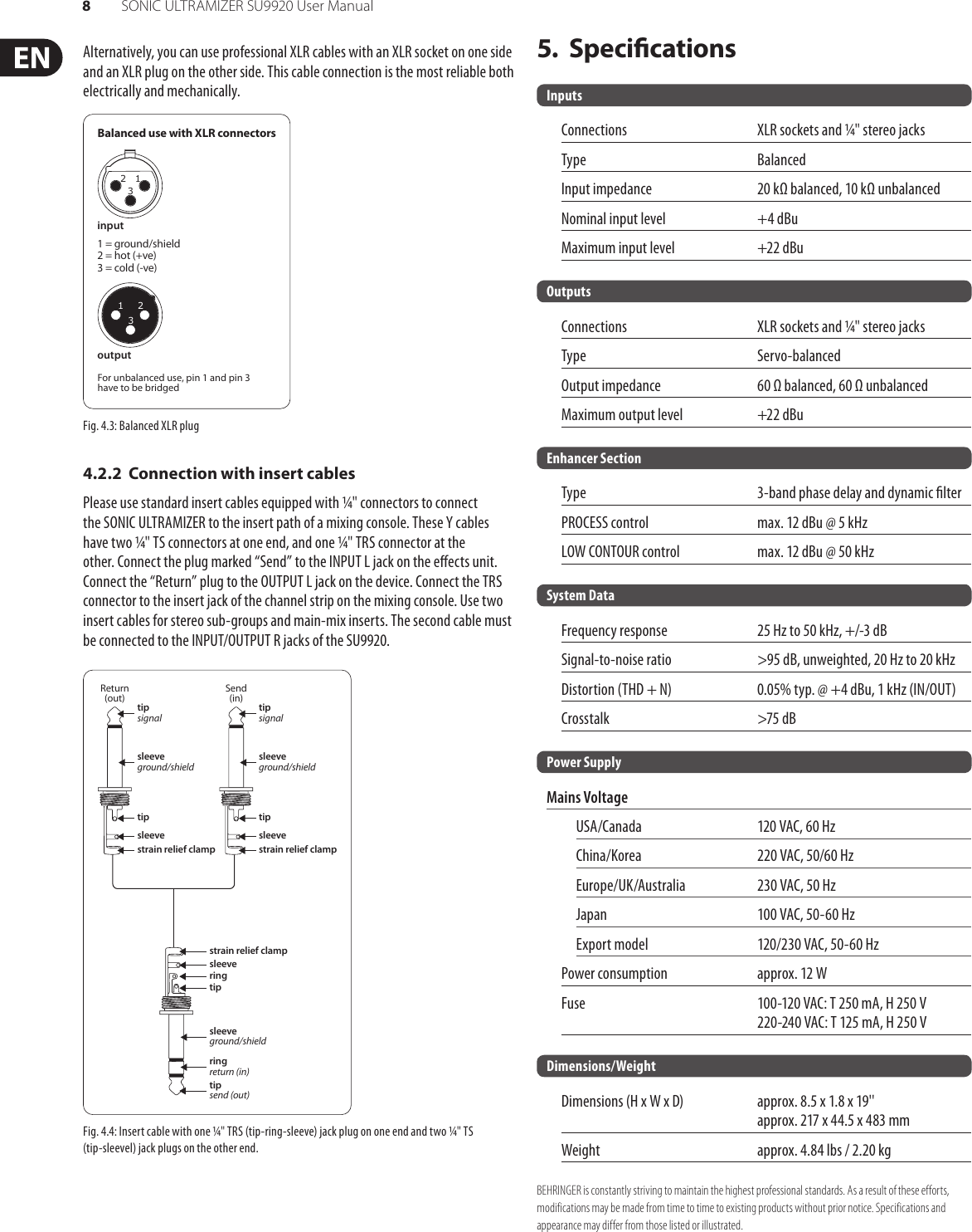 Behringer Sonic Ultramizer Su9920 Users Manual Sonac 220 Wiring Diagram Page 8 Of 9