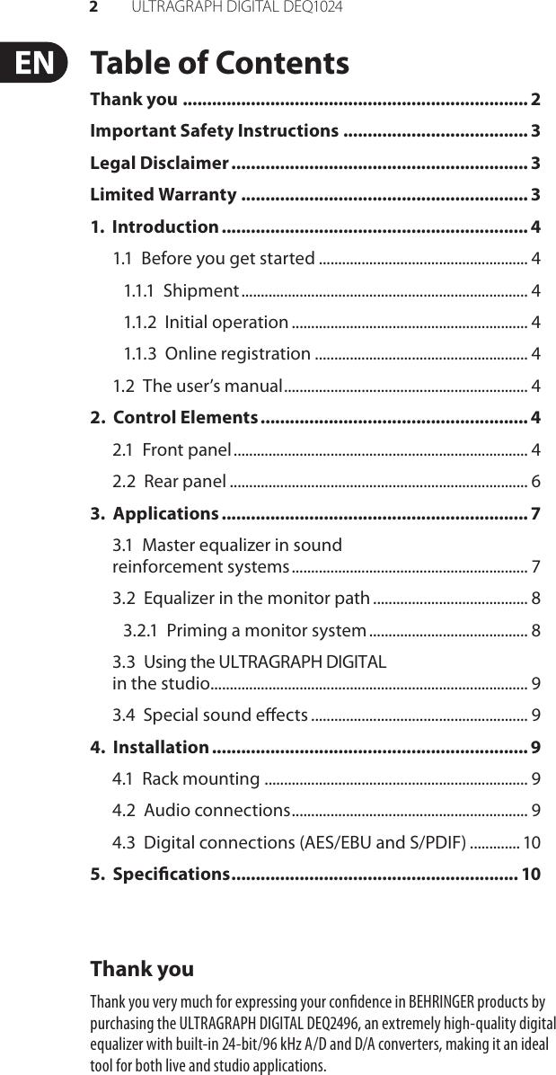 Behringer Ultragraph Digital Deq1024 Owners Manual