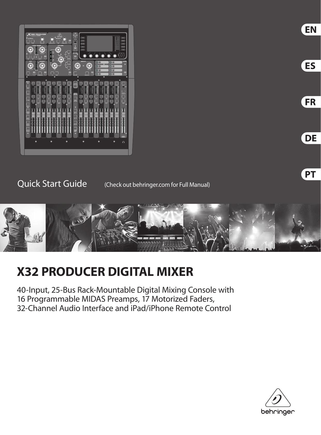behringer x32 producer quick start manual p0awq x32 producer. Black Bedroom Furniture Sets. Home Design Ideas