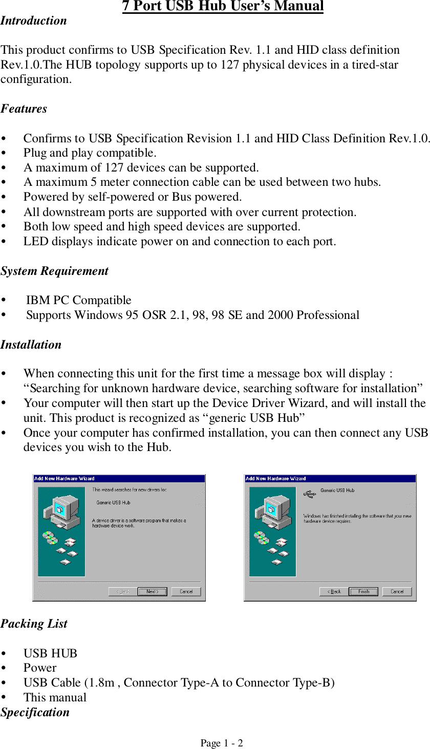 Belkin Components F5U010 7 Port USB Hub User Manual Updated