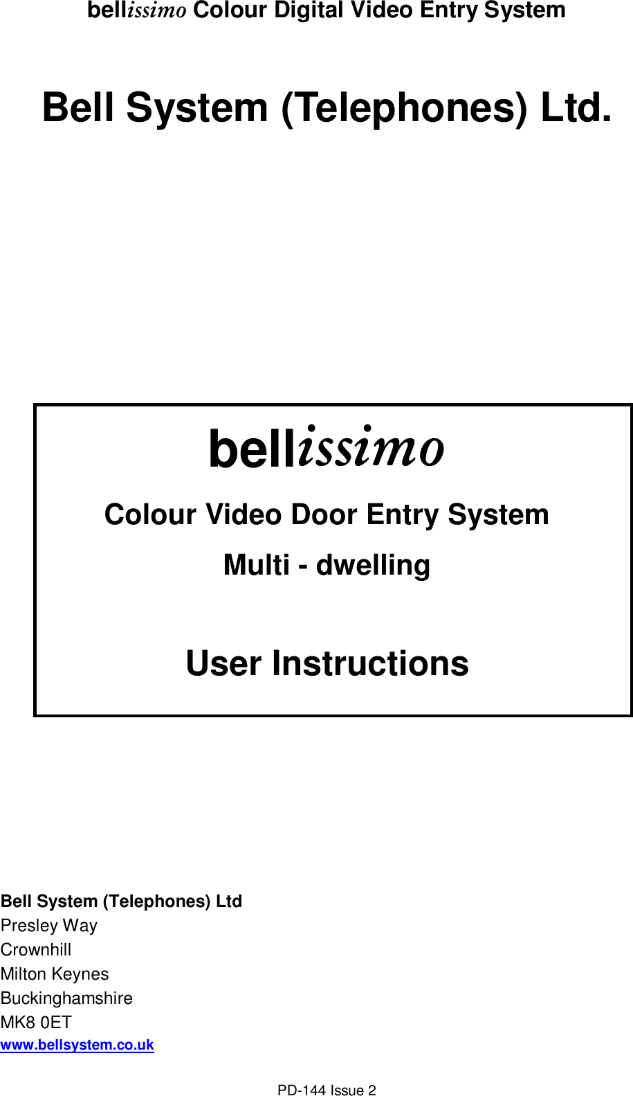 Intercom Wiring Guide Solutions Telex Diagram Bell System Bellissimo Users Manual User Multi Way