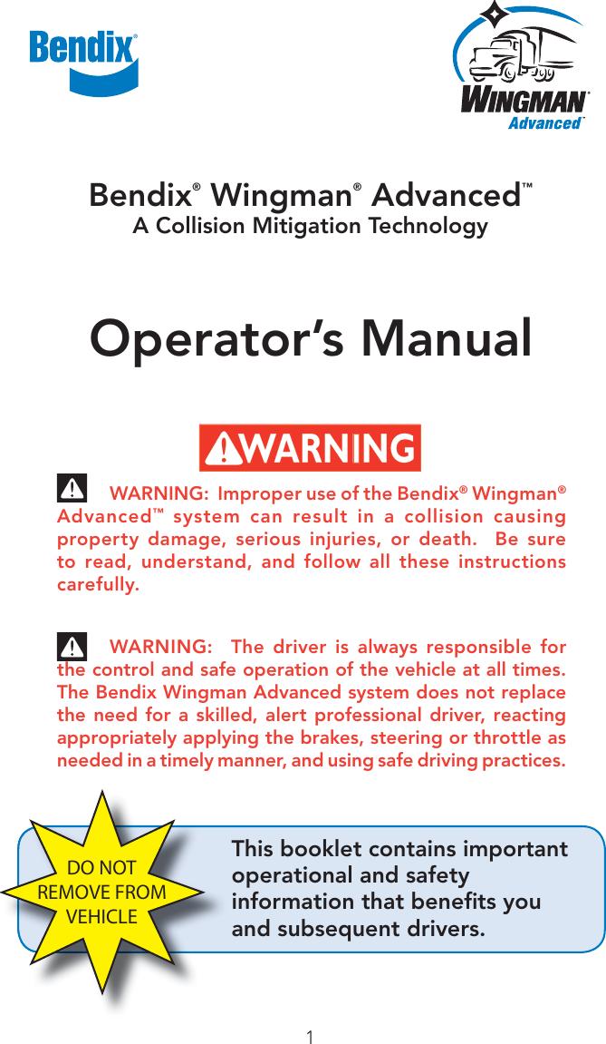 Bendix Bw2850 Users Manual BW2850_US_002
