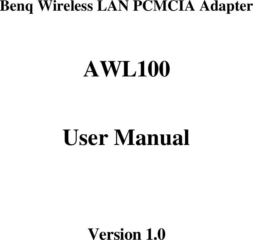 DRIVERS FOR BENQ AWL100 LAN