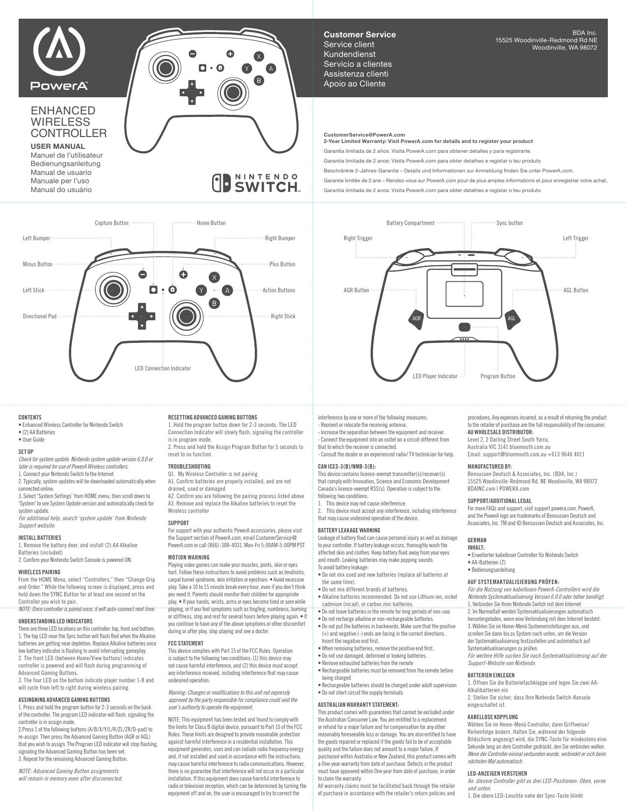 Bensussen Deutsch And Associates 1507507da Enhanced Wireless Controller For Nintendo Switch