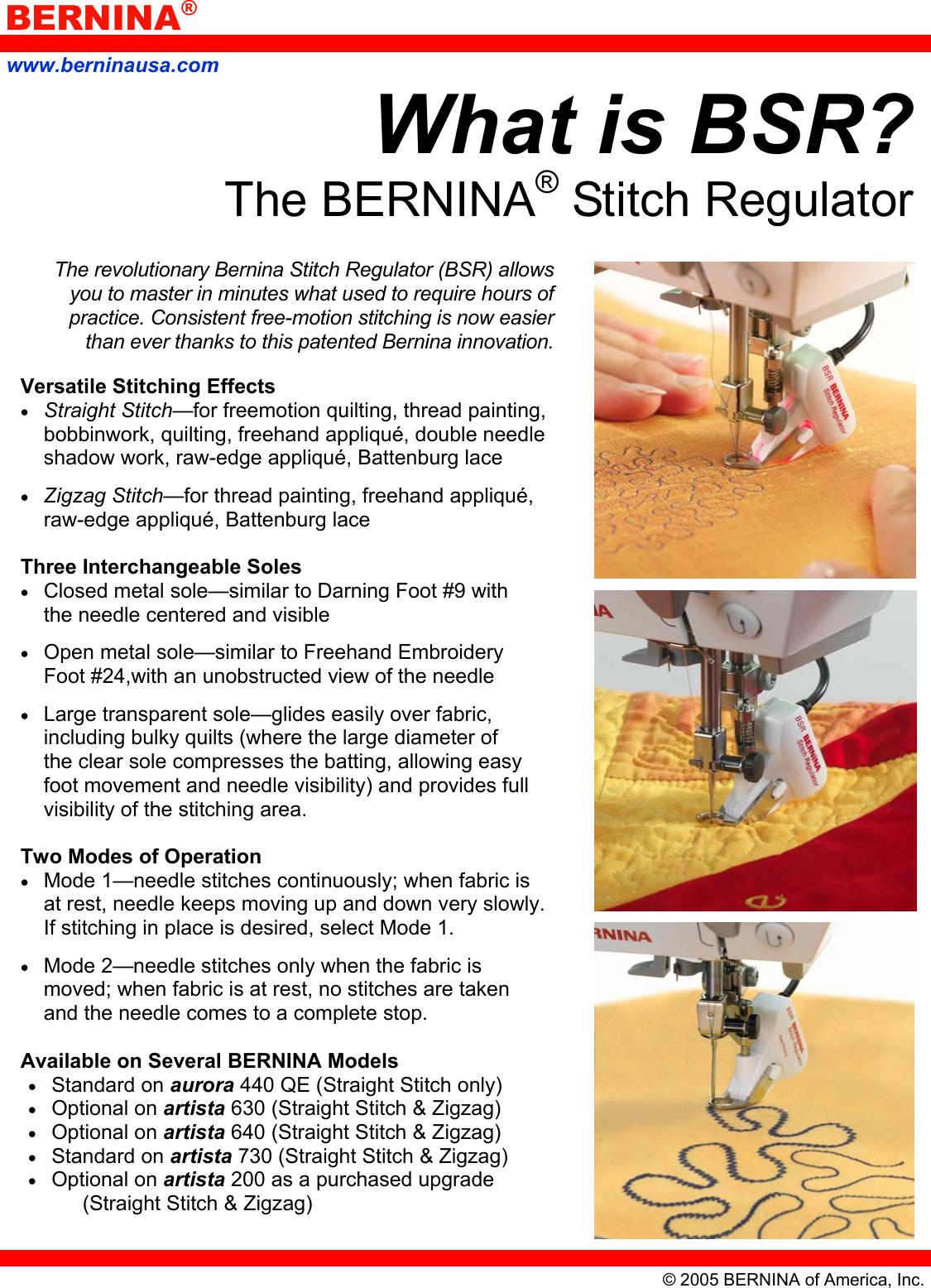Bernina Stitch Regulator Users Manual What Is BSR
