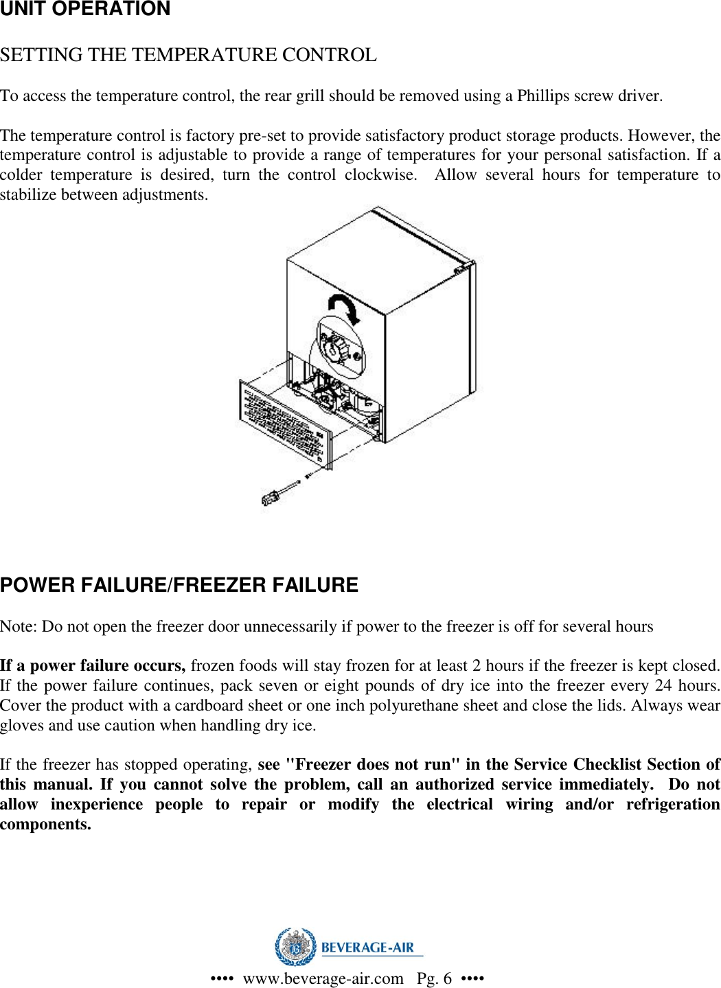 Beverage Air Wiring Diagrams Cf 3 Users Manual Page 6 Of 12