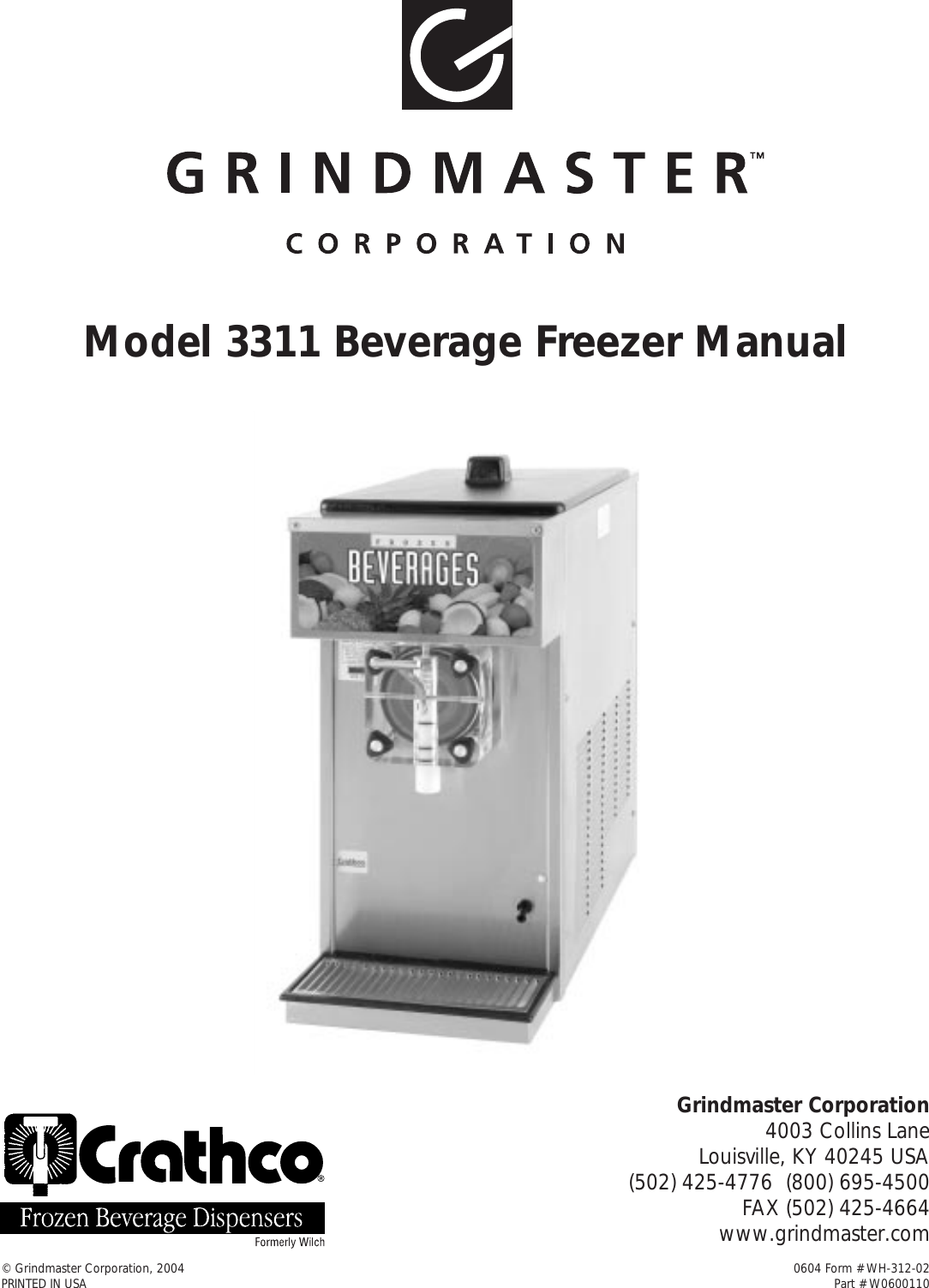 Beverage Air Grindmaster 3311 Users Manual Wh 312 01 Freezer Wiring Diagram