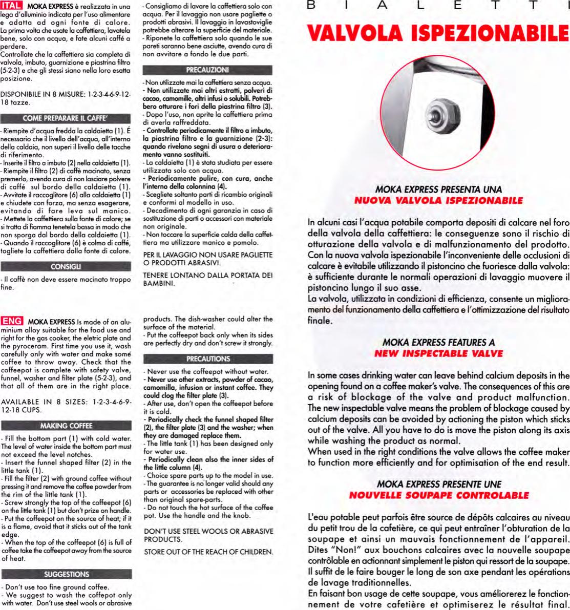 Page 2 of 2 - Bialetti Bialetti-Coffee-Maker-Mokaexpress-Users-Manual- Moka Express  Bialetti-coffee-maker-mokaexpress-users-manual
