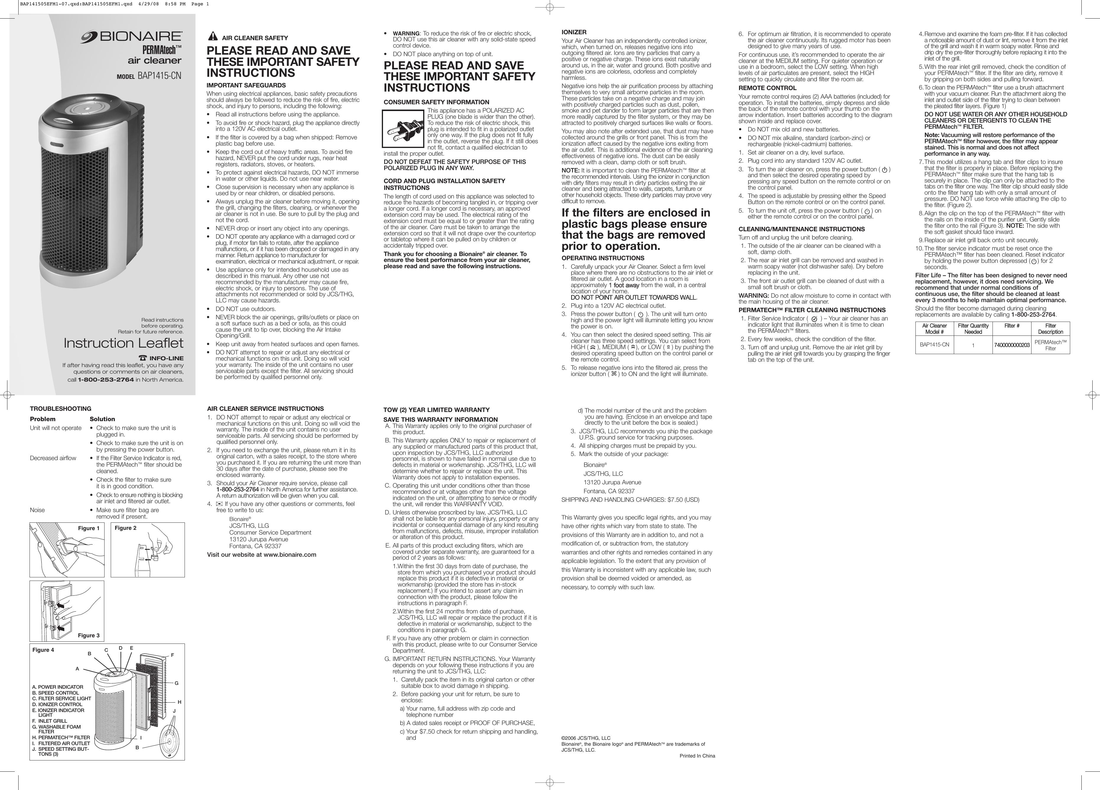 Bionaire Permatech Bap1415 Cn Users Manual BAP141505EFM1 07