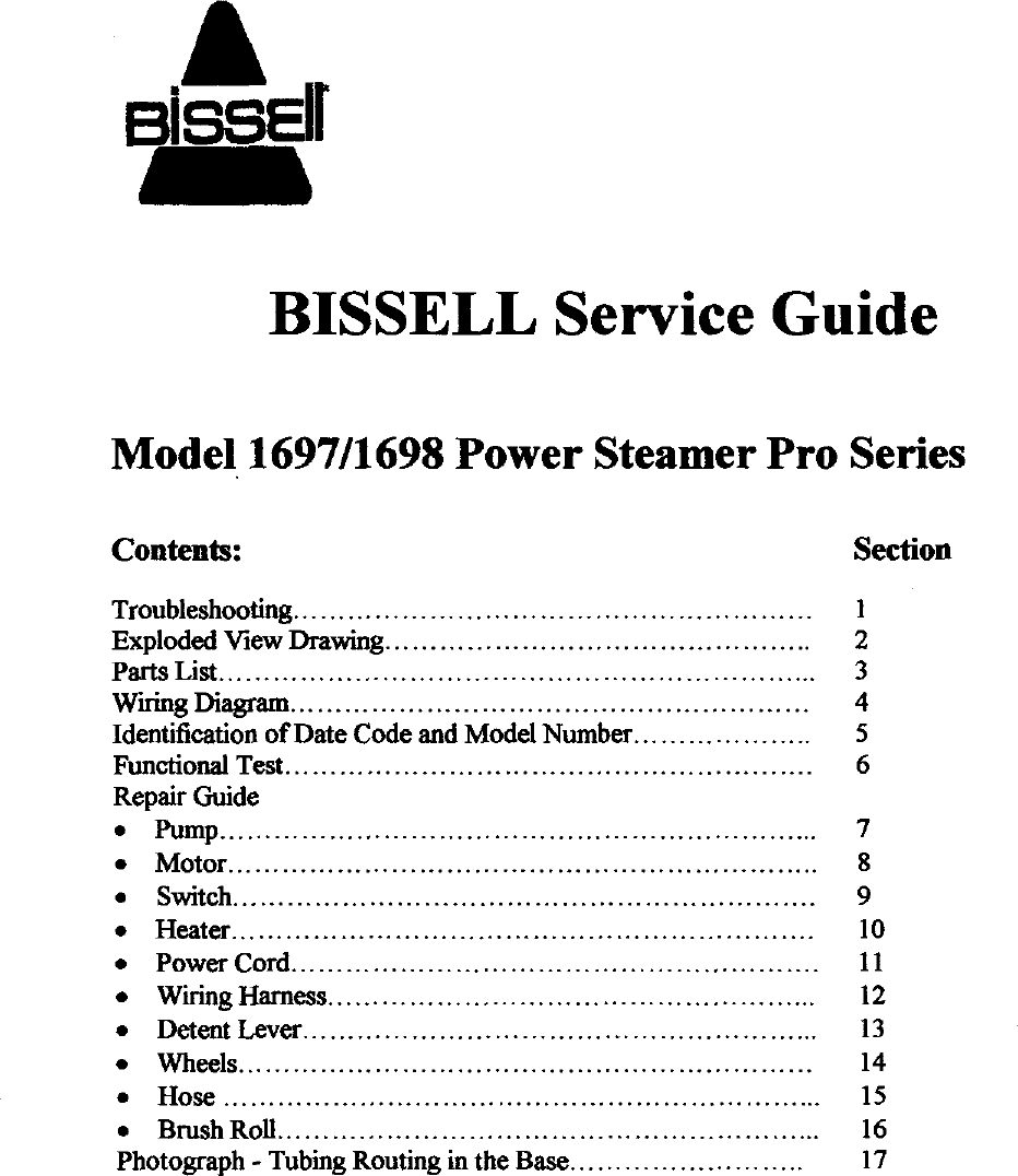 Bissell 1697 User Manual Power Steamer Pro Series Manuals And Guides Wiring Harness Tubing 99040364