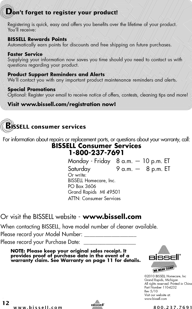 Bissell 22Q3 User Manual VACUUM Manuals And Guides 1409397L