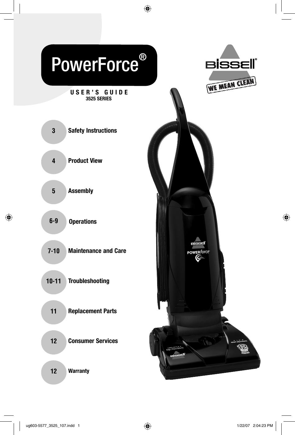 Bissell 3535 Users Manual Ug603 5577 3525 107 Vacuum Cleaner Wiring Diagram Page 1 Of 12