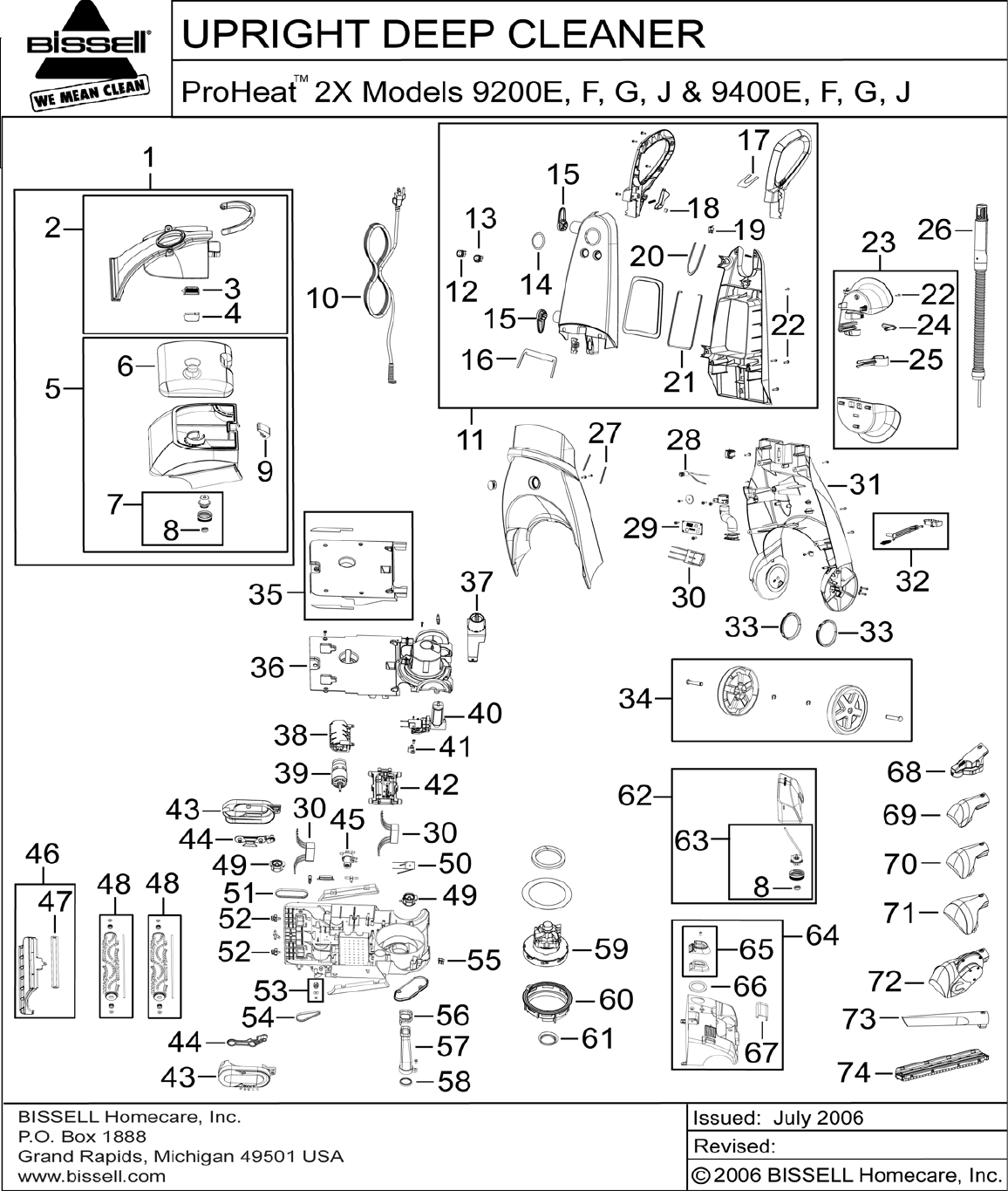 Bissell proheat 9200e users manual parts listing 2x pooptronica