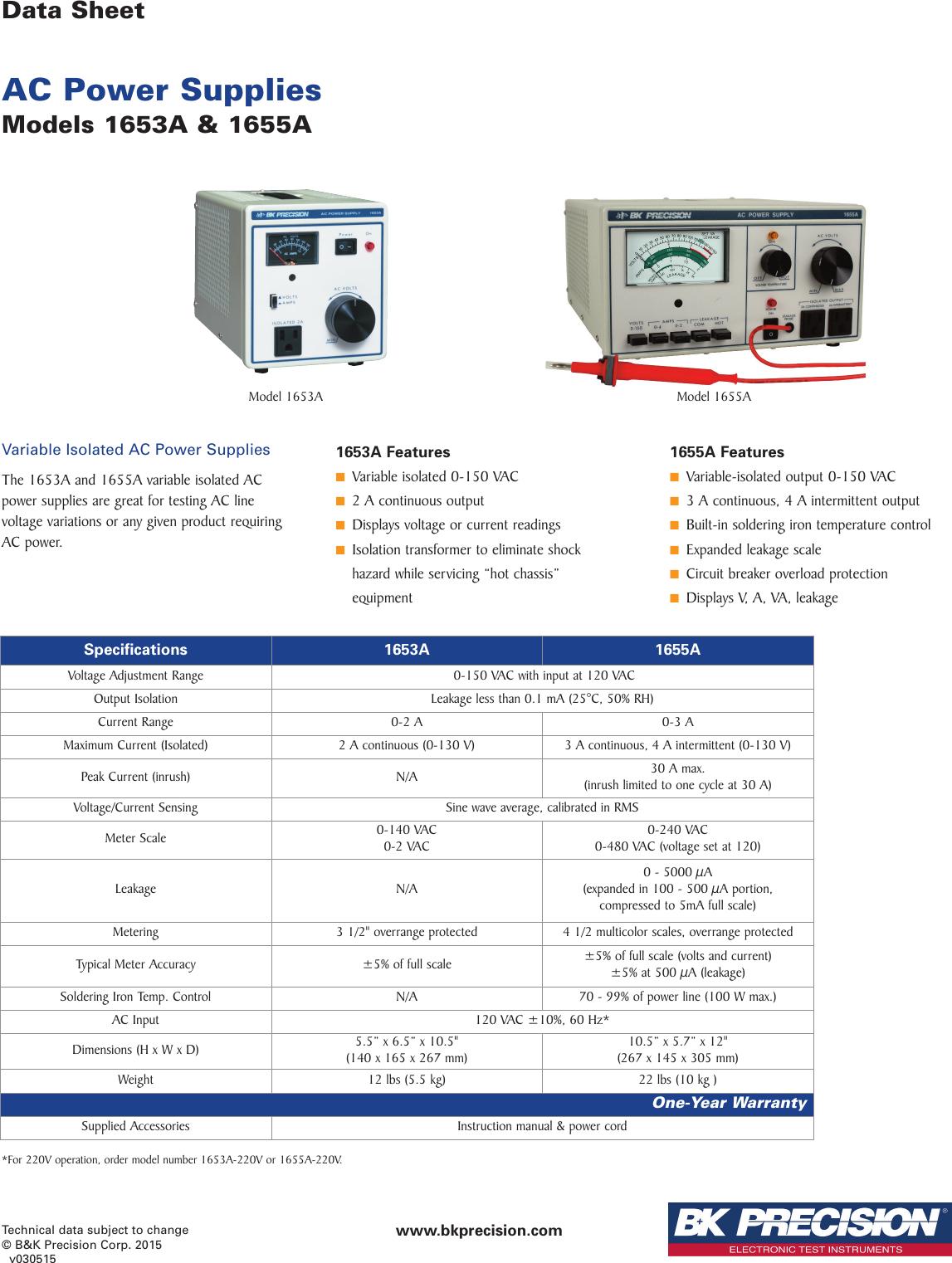 1653A And 1655A AC Power Supplies 16xx A Datasheet
