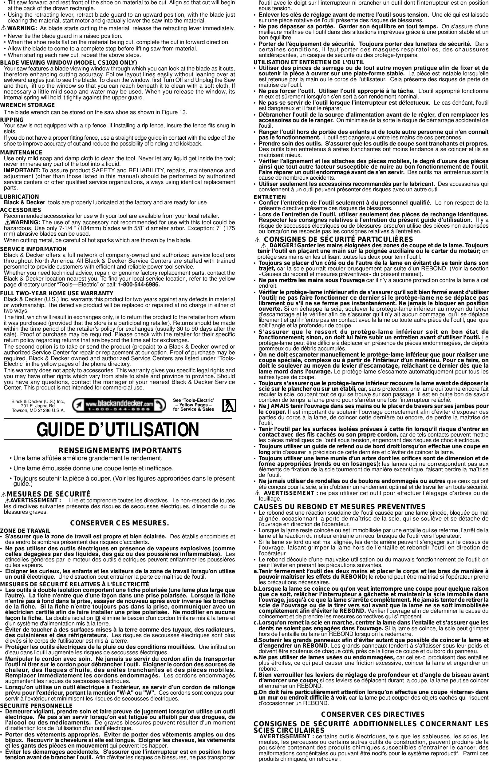 Black And Decker Cs1010 Instruction Manual 605806 00 CS1000