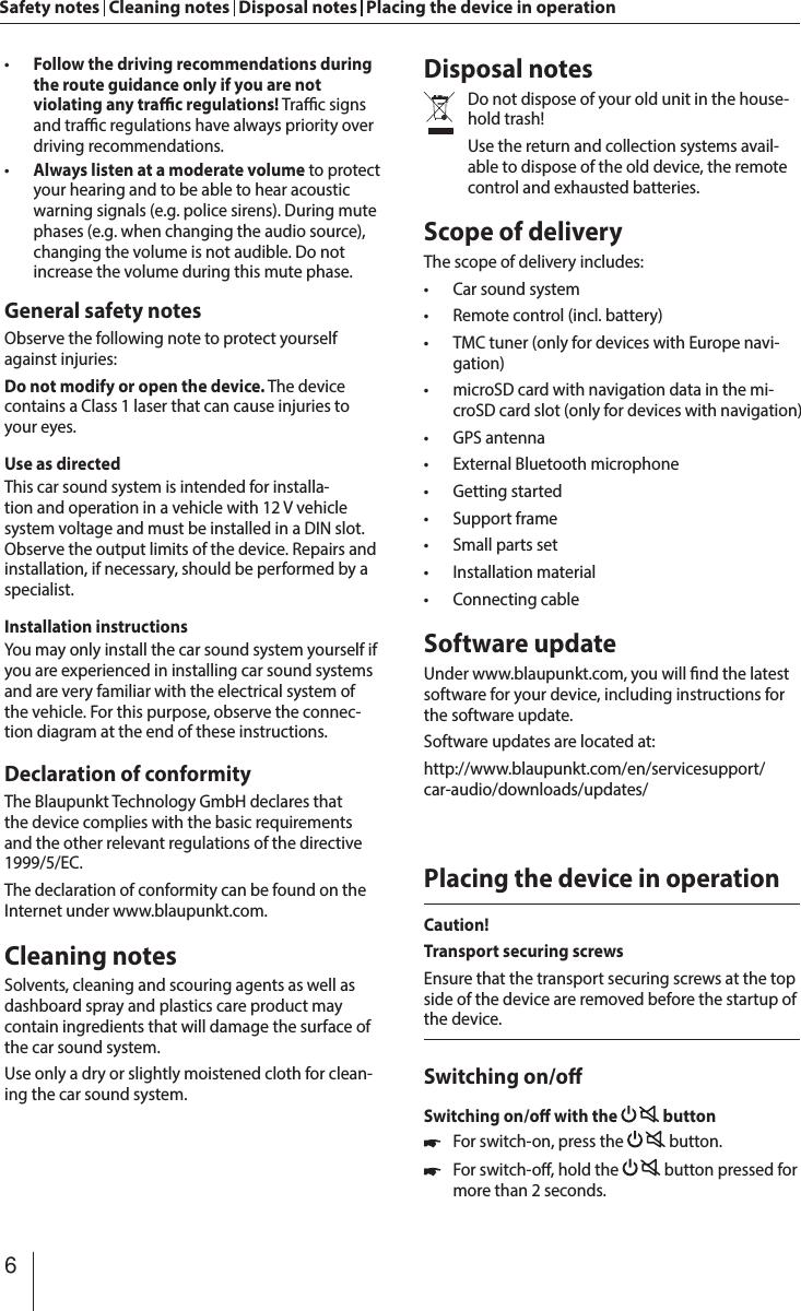 Blaupunkt Technology Americas OSAKA960 Car Multimedia Player User Manual