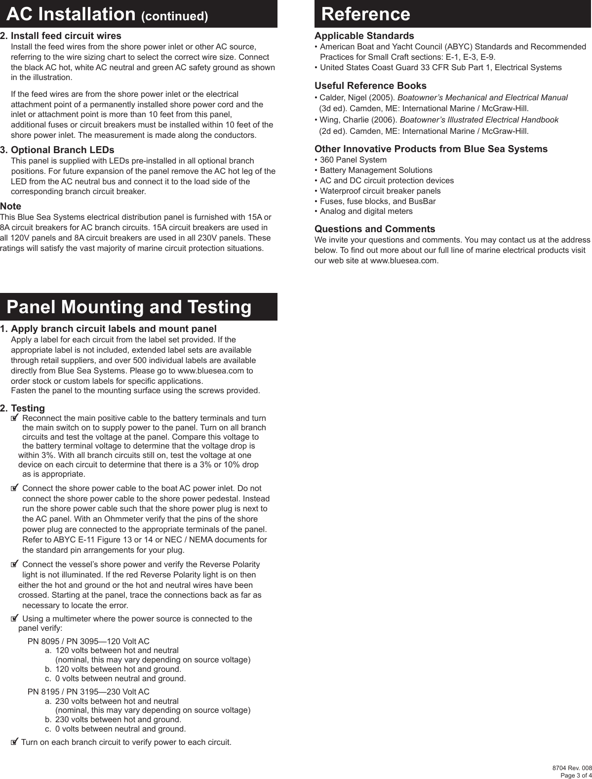 Blue Sea Systems Water Heater Pn 3095 Users Manual Wiring Installation Coastal Source Page 3 Of 4