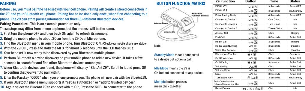 blueant wireless z9 users manual quickstart guide rh usermanual wiki BlueAnt Headset BlueAnt Bluetooth Headset