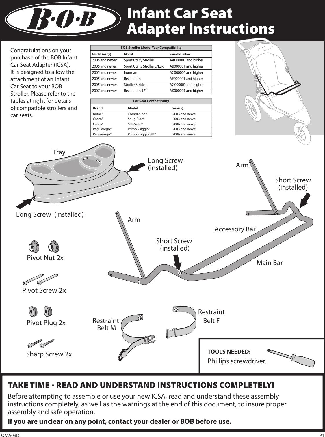 Bob Car Seat Aa000001 Users Manual Single Icsa