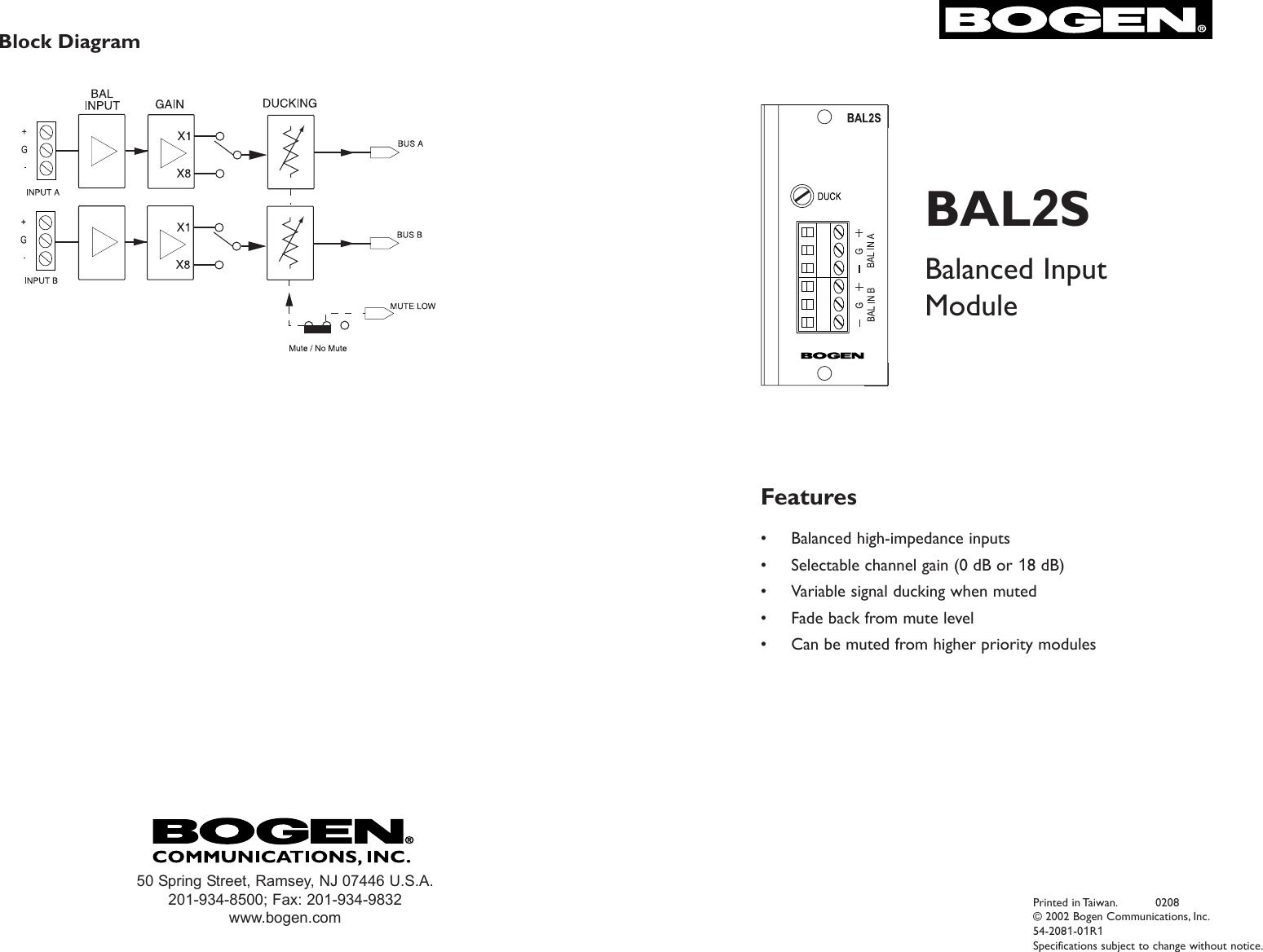 Bogen Communications Table Top Game Bal2s Users Manual Balanced Level 0 Block Diagram Input Module