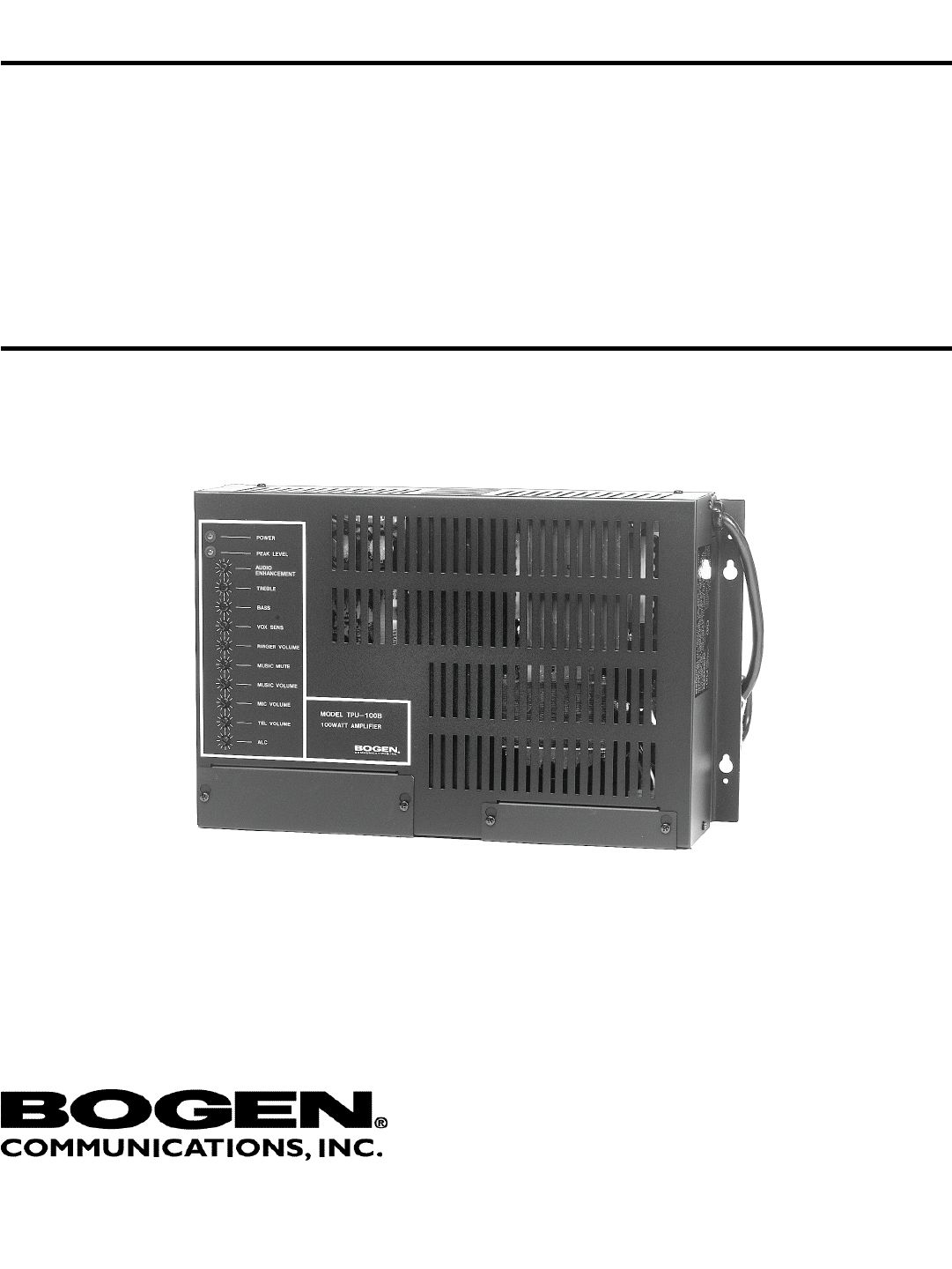 Bogen Tpu 100b Users Manual Tpu35b Tpu60b Tpu100b Telephone Paging 70v Speaker Wiring Diagram Amplifiers