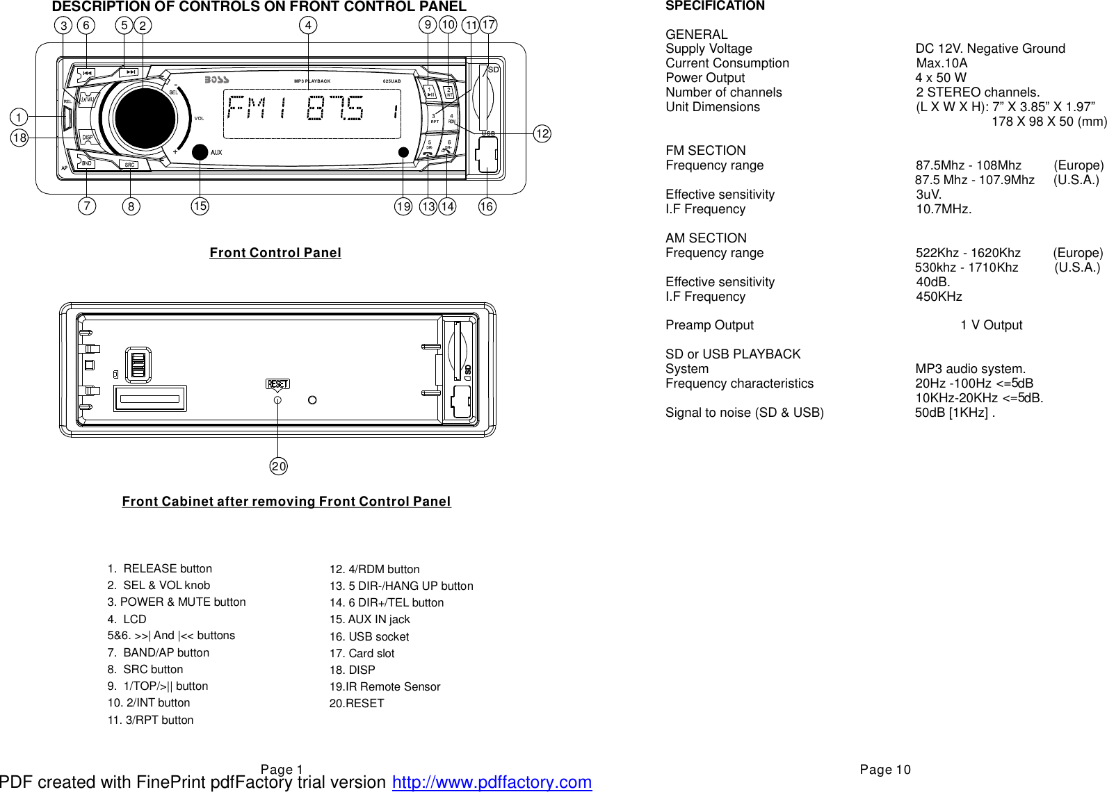Boss Audio Systems Car Stereo System 625Uab Users Manual 625UAB +0705RUHRF+MP3+WMA...UserManual.wiki