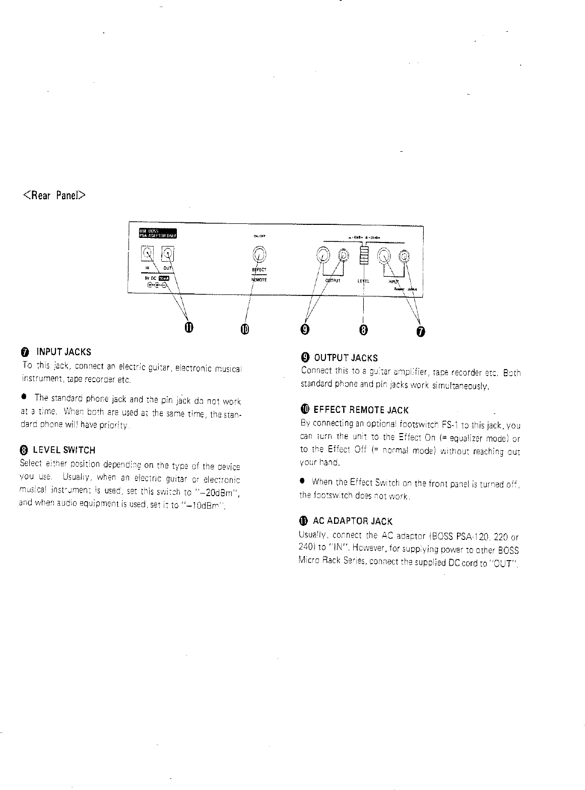 Boss Audio Systems Stereo Equalizer Rge 10 Users Manual Electric Guitar Input Jack Wiring Page 4 Of 8