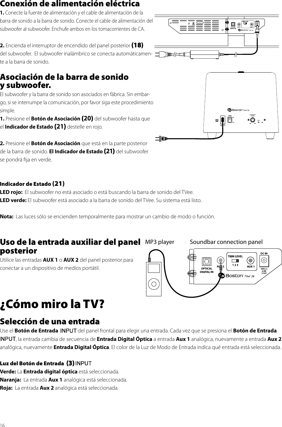 Boston Acoustics Tvee 26 Users Manual 16conexin De Alimentacin Elctrica1 Conecte La Fuente Y El Cable